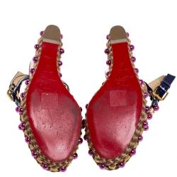 Christian Louboutin Purple Patent Leather Cataconico Embellished Wedge Platform Ankle Strap Sandals Size 38