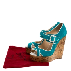 Christian Louboutin Blue Suede and Coated Cork Wedge Melides Sandals Size 38.5