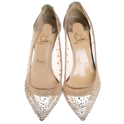 Christian Louboutin Silver Coarse Glitter Fabric And Mesh Follies Strass Embellished Pointed Toe Pumps Size 36.5