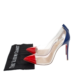 Christian Louboutin Red/Blue Patent Leather And PVC Debout Pumps Size 38