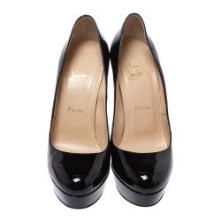 Christian Louboutin Black Patent Leather Bianca Platform Pumps Size 39