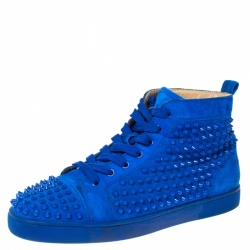 Christian Louboutin Blue Suede Louis Spikes High Top Sneakers Size 43