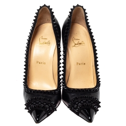 Christian Louboutin Black Leather and Suede Trim Malabar Hill Spiked Pumps Size 39.5
