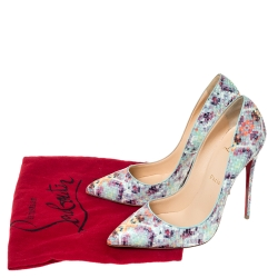 Christian Louboutin Multicolor Pixel Pattern Python Embossed Pigalle Follies Pointed Toe Pumps Size 38.5