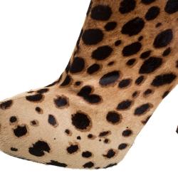Christian Louboutin Brown Leopard Print Calfhair Bianca Platform Ankle Boots Size 40