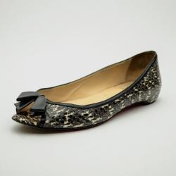 Christian Louboutin Python Embossed 'Milady' Open Toe Ballet Flats Size 37