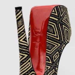 Christian Louboutin Geometric Design Raffia Daffodile Pumps Size 37