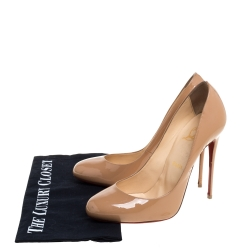 Christian Louboutin Beige Patent Leather Simple Pumps Size 38.5
