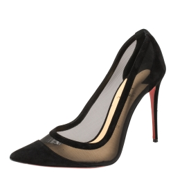 Christian Louboutin Black Suede and Mesh Galativi Pumps Size 40