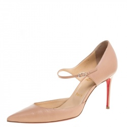 Christian Louboutin Beige Leather Tirana Mary Jane Pointed Toe Pumps Size 38.5