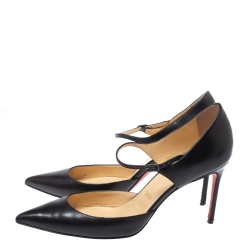 Christian Louboutin Black Leather Tirana Mary Jane Pointed Toe Pumps Size 38.5