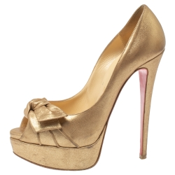 Christian Louboutin Gold Leather Knotted Bow Peep Toe Pumps Size 36.5