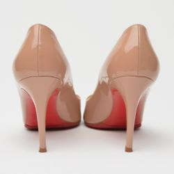 Christian Louboutin You You Beige Patent Peep Toe Pumps Size 37