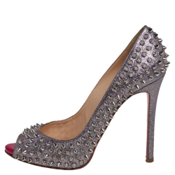 Christian Louboutin Silver Glitter Leather Flo Pumps Size 39