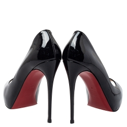 Christian Louboutin Black Patent Leather New Very Prive Peep Toe Platform Pumps Size 40