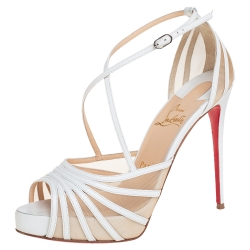 Christian Louboutin White Leather And Mesh Filamenta Platform Ankle Strap Sandals Size 37