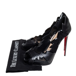 Christian Louboutin Black Leather And Mesh Explozina Pumps Size 39.5