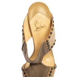 Christian Louboutin Beige/Brown Canvas And Leather Hassaneta Sandals Size 38