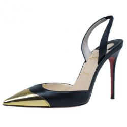 Christian Louboutin Black Leather Calamijane Cap Toe Slingback Sandals Size 37