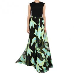 Christian Siriano Black and Turquoise Silk Printed Gown M
