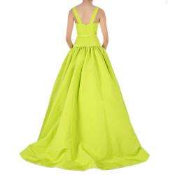 Christian Siriano Lime Silk Drop-Waist Gown S