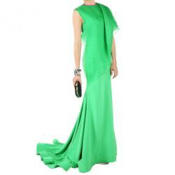 Christian Siriano Green Silk Draped Gown S