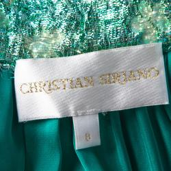Christian Siriano Metallic Green Floral Jacquard Bubble Lamé Tea Length Skirt M