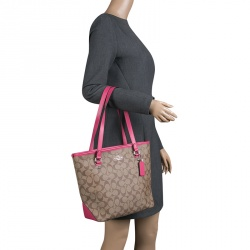 Coach Beige/Pink Signature Canvas and Leather Tote