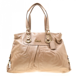 Coach Shimmering Beige Leather Top Handle Bag ddfa58b70a1b0