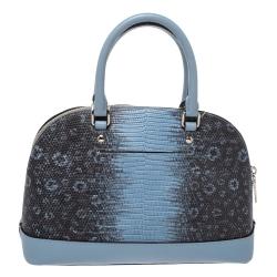 Coach Blue/Black Lizard Embossed Leather Mini Sierra Satchel