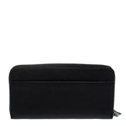 Coach Black Leather Accordion Zip Around Wallet