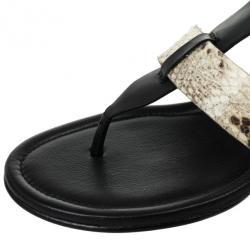 Coach Black Leather & Snakeskin T Strap Velvet Wedges Sandals Size 37