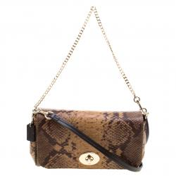 Coach Brown Python Embossed Leather Mini Ruby Crossbody Bag