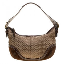 Coach Beige Brown Signature Canvas and Suede Shoulder Bag c41b8e1ce9aed