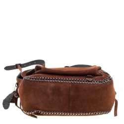 Coach Brown Suede Whipstitch Chain Dakotah Messenger Bag