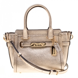 Coach Metallic Gold Leather Swagger 20 Carryall Top Handle Bag 297461b2ab