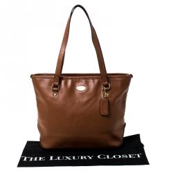 Coach Tan Leather City Zip Shopper Tote