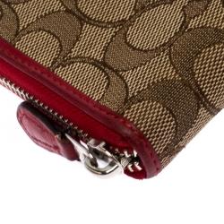 Coach Brown/Red Trim Coated Canvas Zip Around Wallet