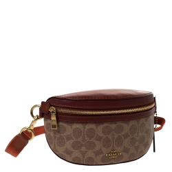 Coach Beige Signature Coated Canvas and Leather Belt Bag