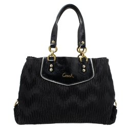 Coach Black Pleated Satin and Patent Leather Tote