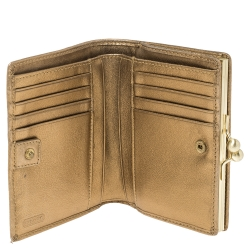 Coach Beige/Gold Signature Canvas and Leather Compact Wallet