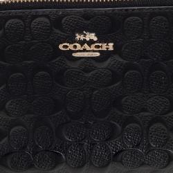 Coach Black Signature Debossed Patent Leather Wristlet Pouch