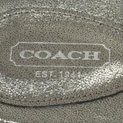 Coach Silver Metallic Skye Flower Thong Sandals Size 36.5