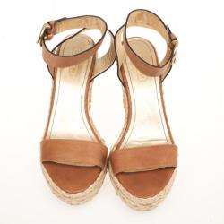 Coach Brown Leather Espadrilles Gracyn Wedges Sandals Size 40