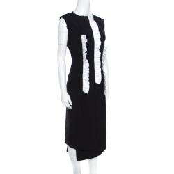 Commes des Garcons Black Wool Ruffled Raw Edged Detail Sheath Dress M