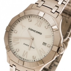 Concord Mother of Pearl Stainless Steel Saratoga 02.3.14.1060 Women's Wristwatch 31 mm