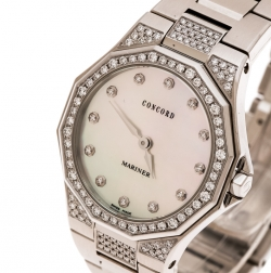 Concord Mother of Pearl Stainless Steel Diamond Mariner 14 E6 1850.1 S Women's Wristwatch 30 mm