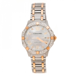 Concord Mother of Pearl Stainless Steel Rose Gold CVC Coated Diamonds Saratoga 0320169 Women's Wristwatch 31 mm