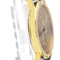 Corum 18K Yellow Gold and Leather Coin Watch Quartz Women's Wristwatch 28MM