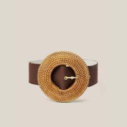 Cult Gaia Brown Gemma Large Woven Buckle Belt  XS/S